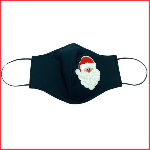 Santa Black Cotton Face Mask With Filter and Nose Wire