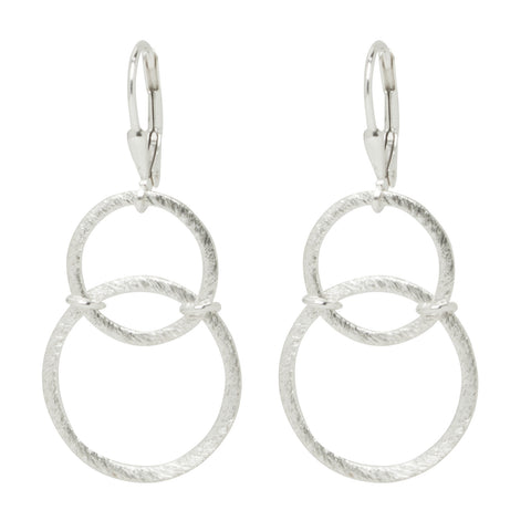 Silver Abstract Circle Earrings