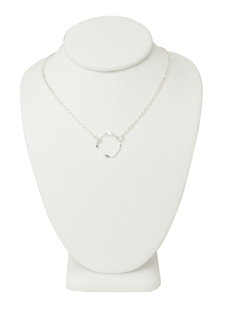 Silver Twisted Circle Necklace