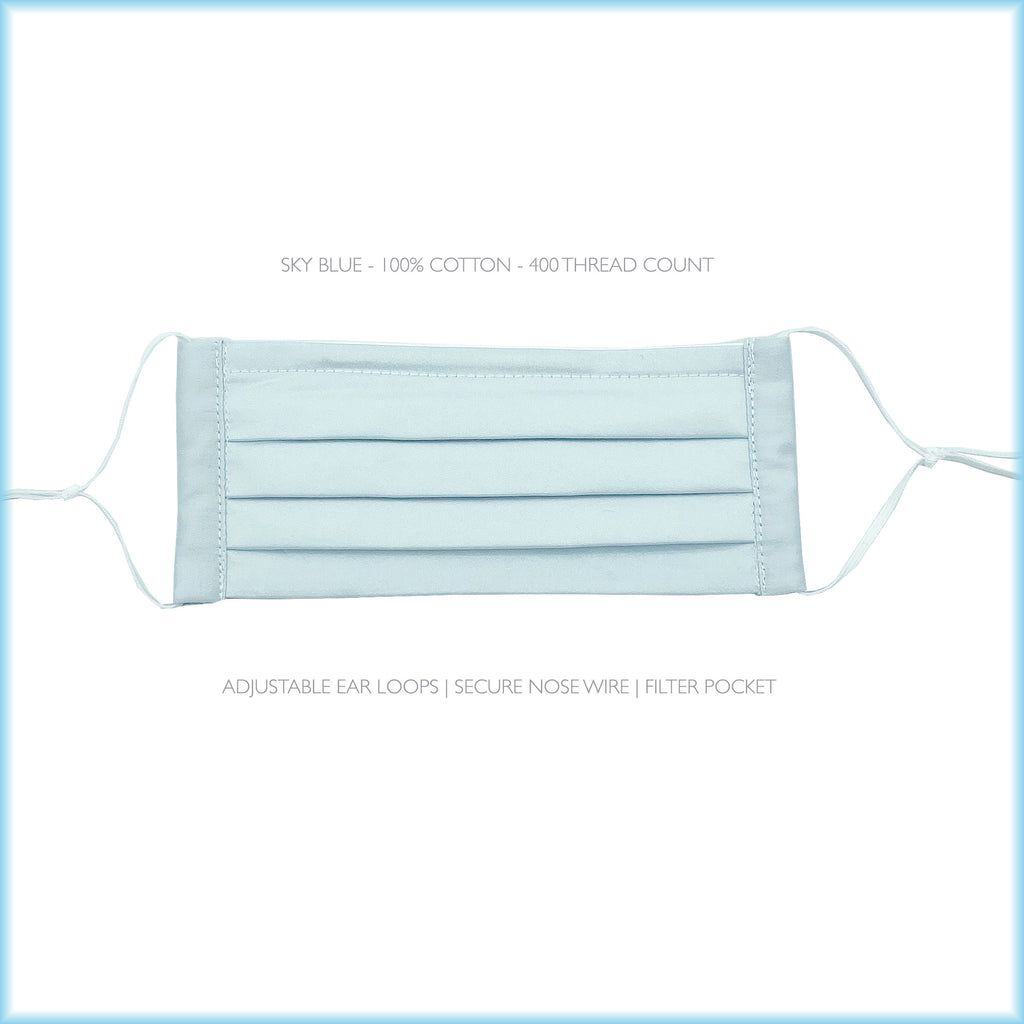 SKY BLUE Cotton Surgical Style Face Mask With Filter and Nose Wire