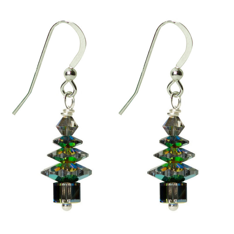 Evergreen Crystal Tree Earrings - Small