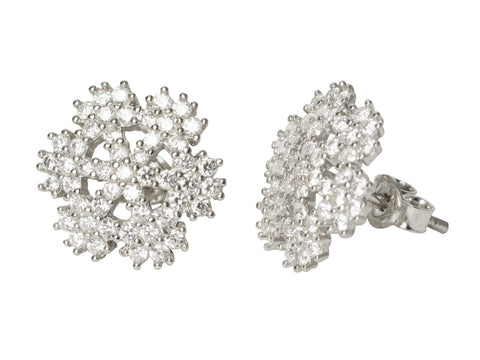 Snowflake Flower CZ Earrings