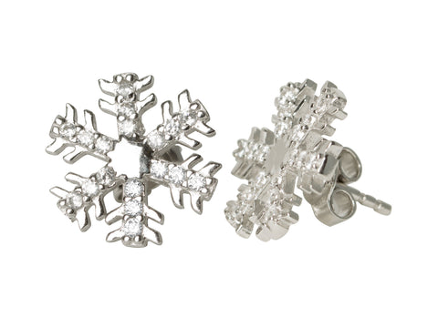 Snowflake CZ Stud Earrings
