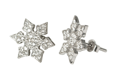 Snowflake Flowers CZ Stud Earrings