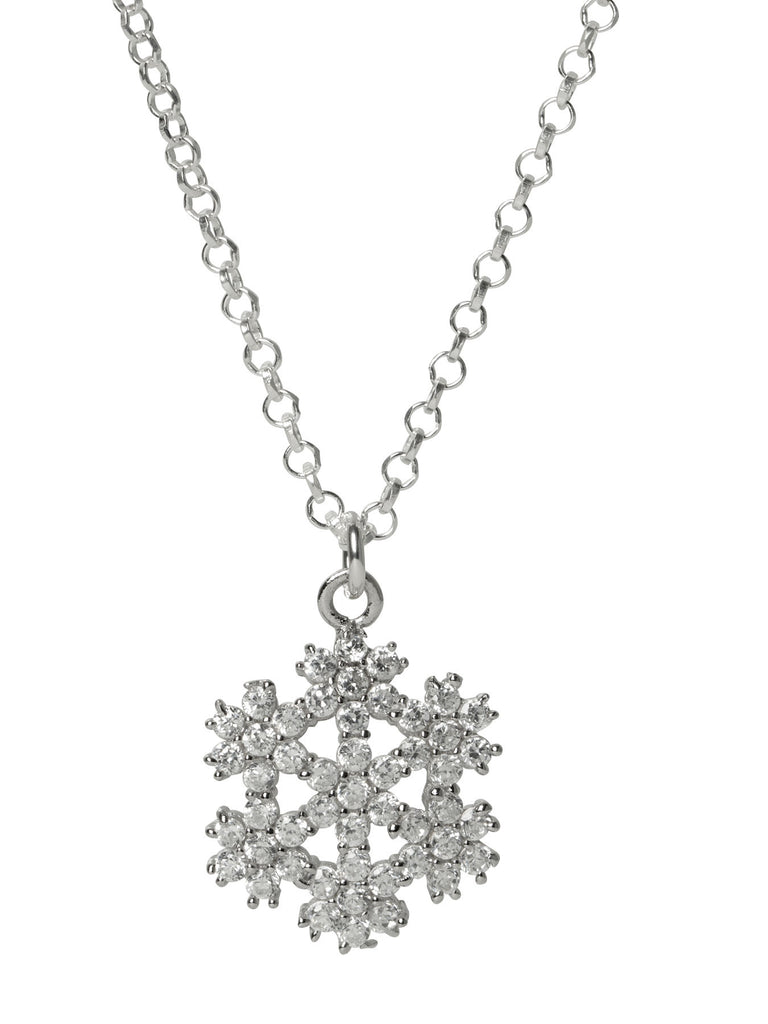 Snowflake Flower CZ Necklace