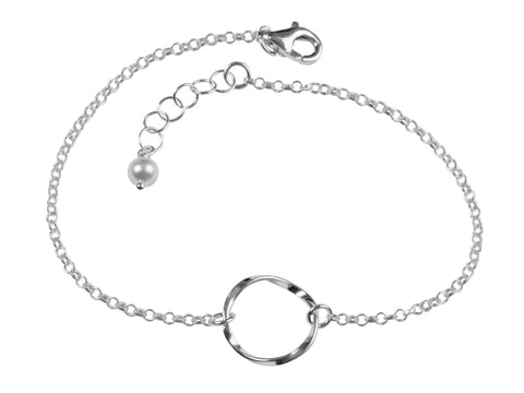 Silver Eternity Twist Circle Bracelet