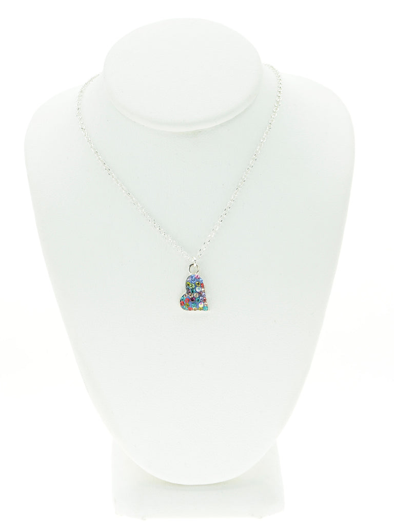 Colorful Crystal Loving Heart Necklace