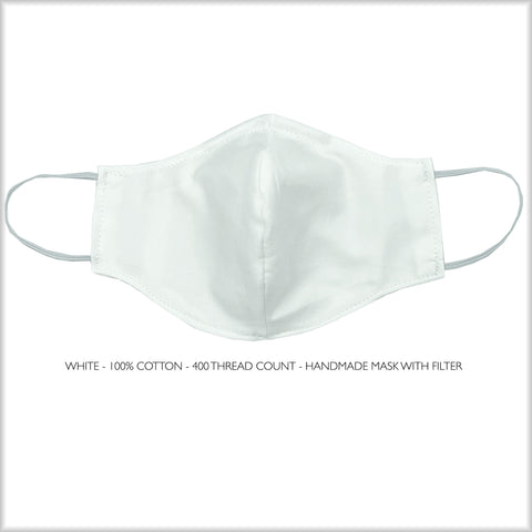 WHITE Cotton Face Mask With Filter and Nose Wire