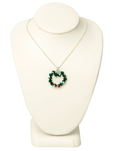 Holiday Wreath Crystal Necklace