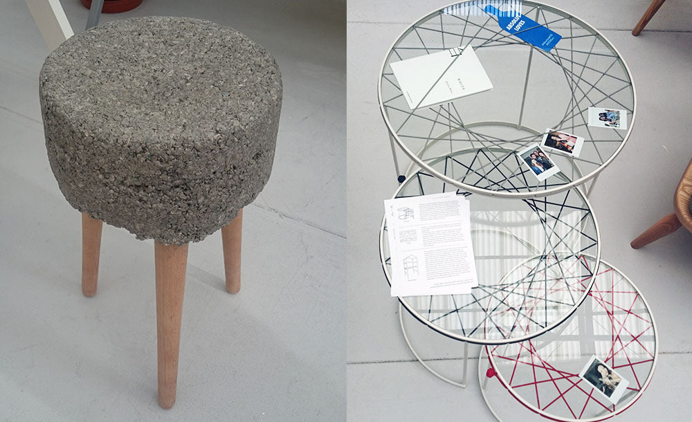Concrete stool design and round glass tables with elastic at New Designers