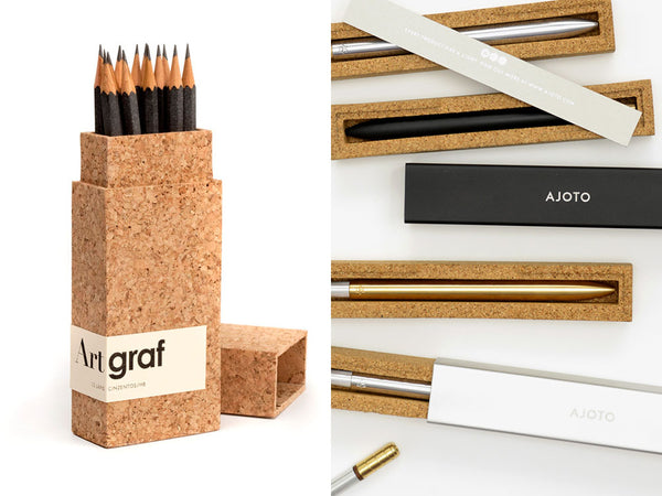 Cork packaging for pens and pencils