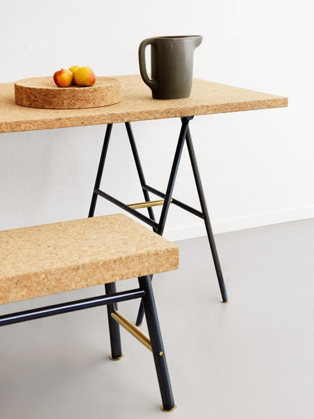 Sinnerlig Cork Table and Bench by Ikea and Isle Crawford