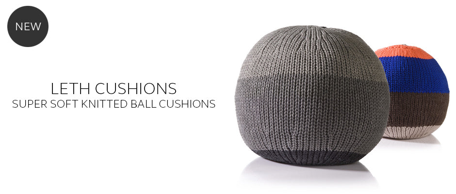 Round knitted ball cushions by Stine Leth for Korridor Design