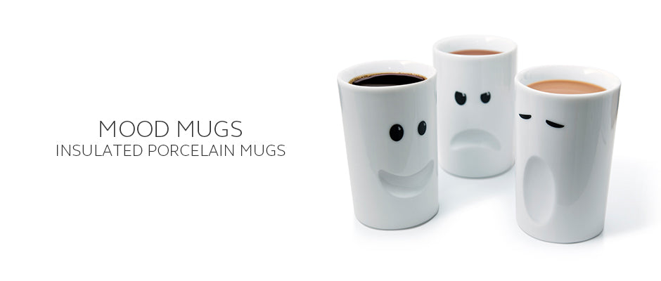 Mood Mugs double wall insulated mugs with faces including Happy, Sleepy, Moody, Stressed and Cheeky