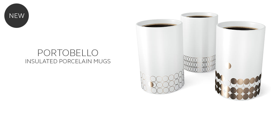 Portobello insulated double wall mugs with gold lustre design
