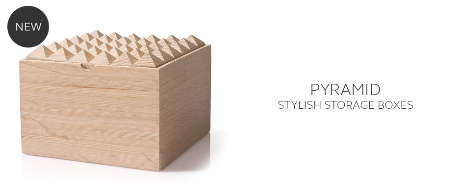 Pyramid Wooden storage box for jewellery and stationary by Korridor design