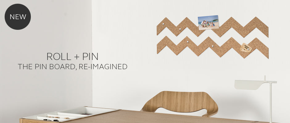 ROLL + PIN self adhesive cork pin board making a zig zag on an office wall