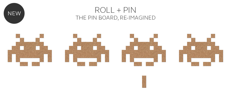 Roll + Pin creates any shape cork pin board including Space Invaders
