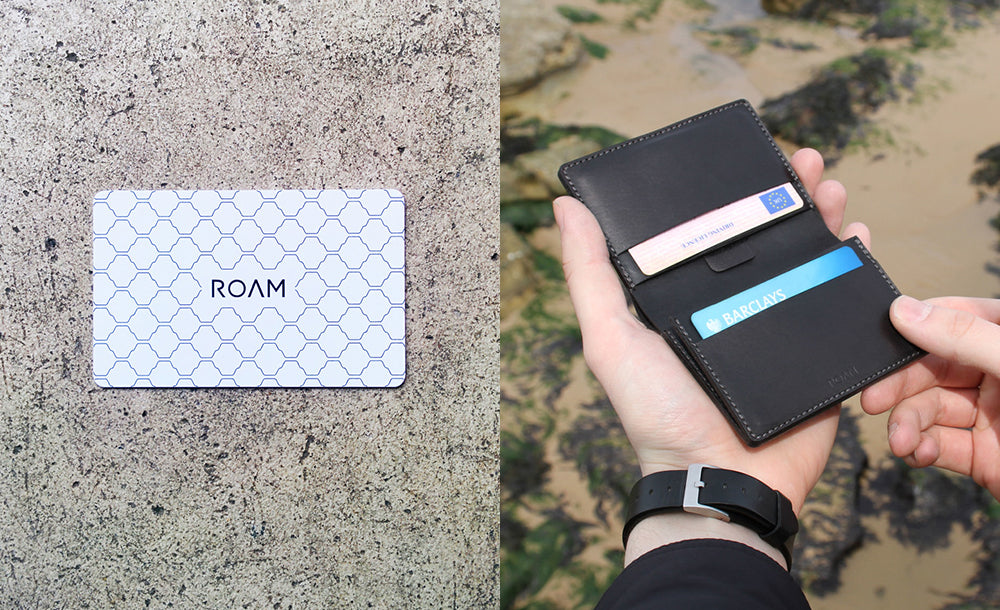 Roam Contactless Receipt and Bill Filing System and leather wallet