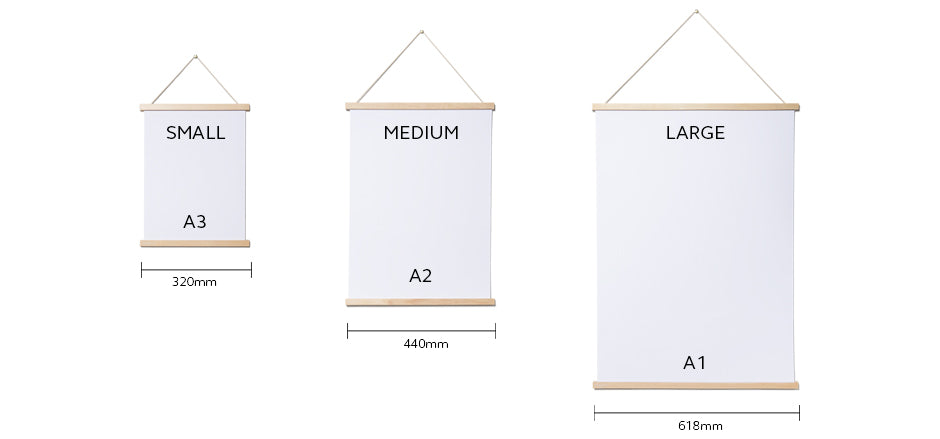 Magnetic Poster Frames are available in 3 sizes for A3, A2 and A1 posters and prints