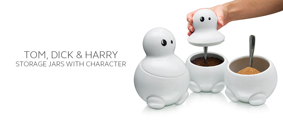 Tom Dick and Harry the white ceramic tea sugar and coffee storage jars by THABTO