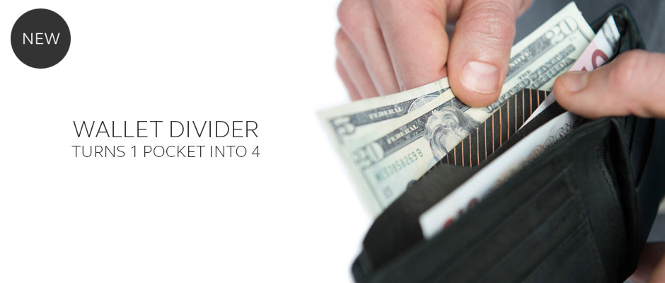 Wallet divider separates cash receipts and currency by THABTO