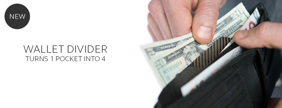 Wallet Divider separates your cash, receipts & currency