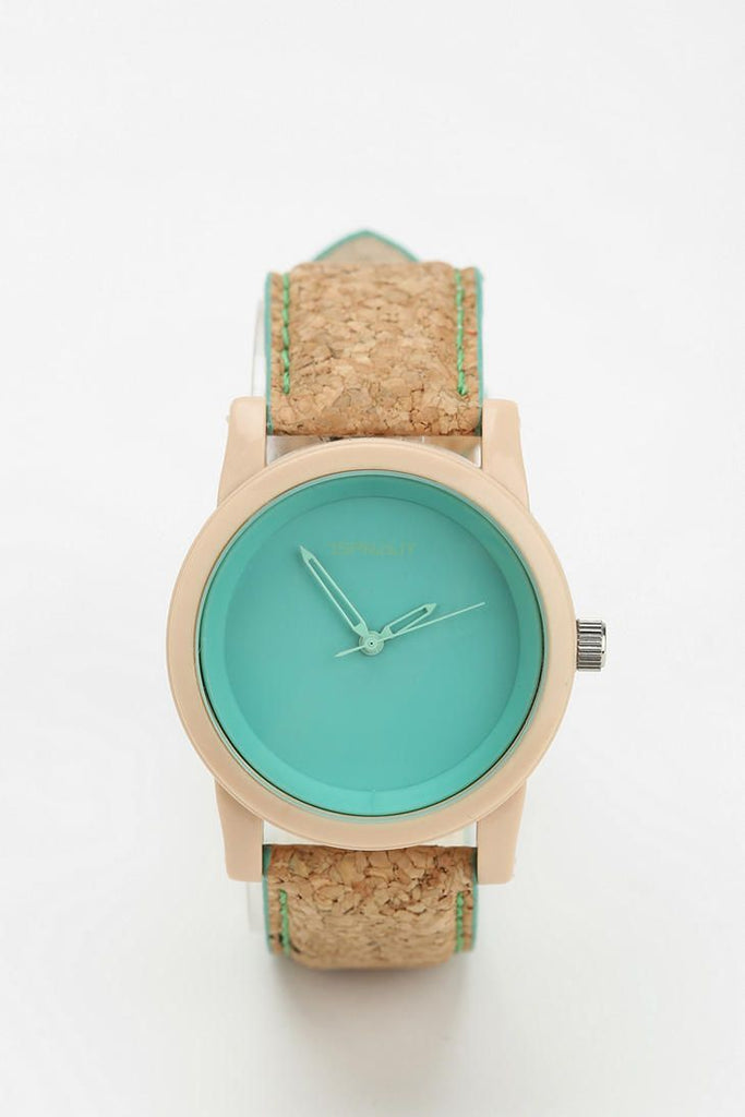 Cork watch. Cork strap with turquoise face
