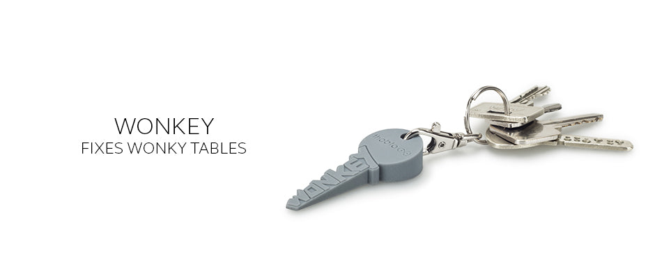 WonKey the quirky keyring that fixes wobbly and uneven tables