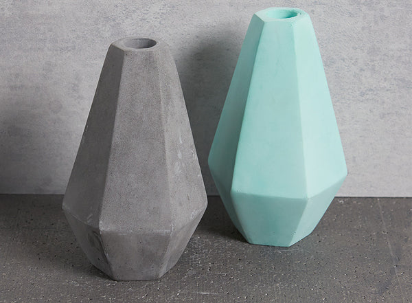 Concrete Geometric Candle Holders in grey and mint green by Korridor Design