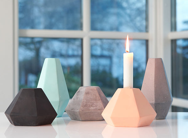 Concrete Geometric Candle Holders by Korridor Design