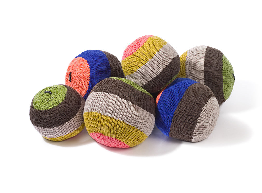 Knitted ball cushions by Stine Leth for Korridor Design