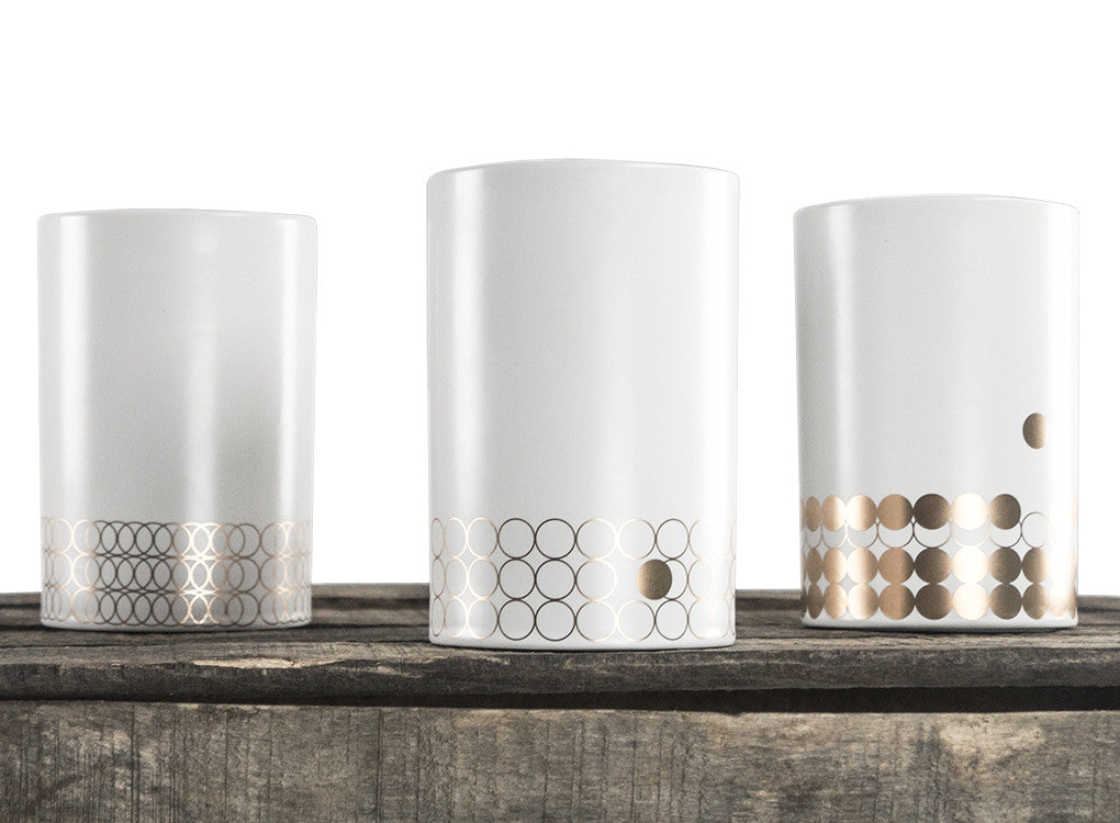Portobello insulated porcelain mug collection in white and gold