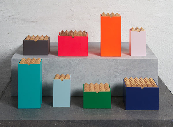 Wooden Pyramid storage boxes for jewellery and stationary by Korridor Design