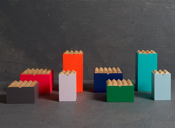 Pyramid wooden storage boxes by Korridor Design