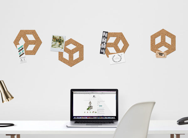ROLL + PIN cubes cork pinboard on a home office wall