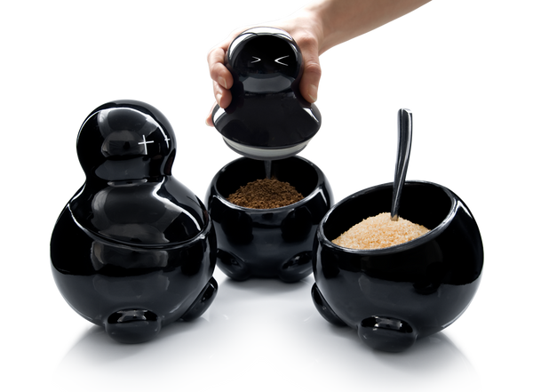 LEX, SETH & CARRIE Ceramic storage jars in black for tea sugar and coffee