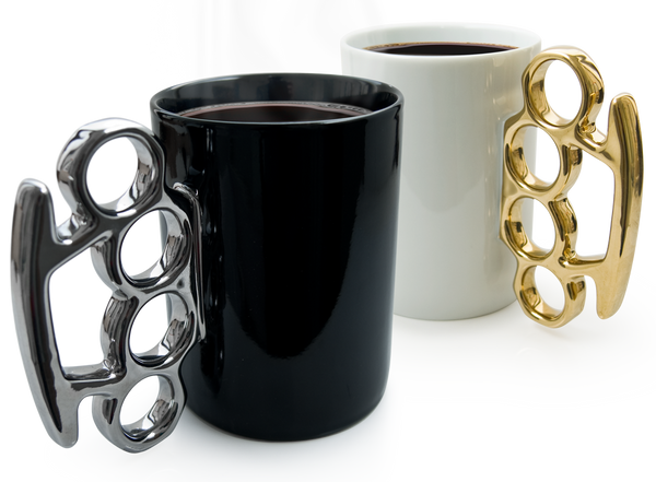 Knuckle Duster / Brass Knuckle mugs in black and silver and white and gold by THABTO