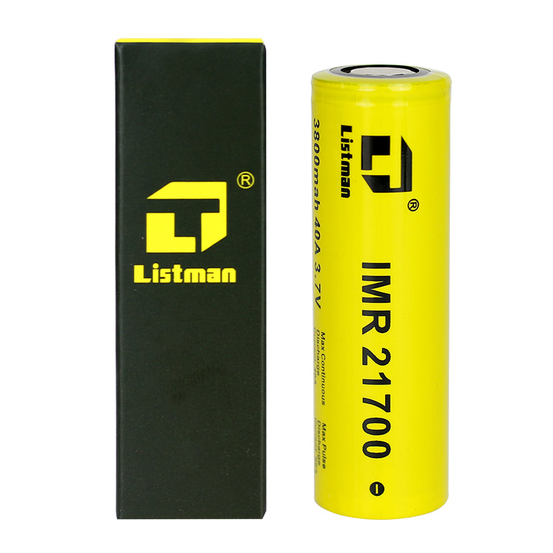2pcs Listman IMR 21700 3800mAh 40A Flat Top Li-ion Rechargeable Battery