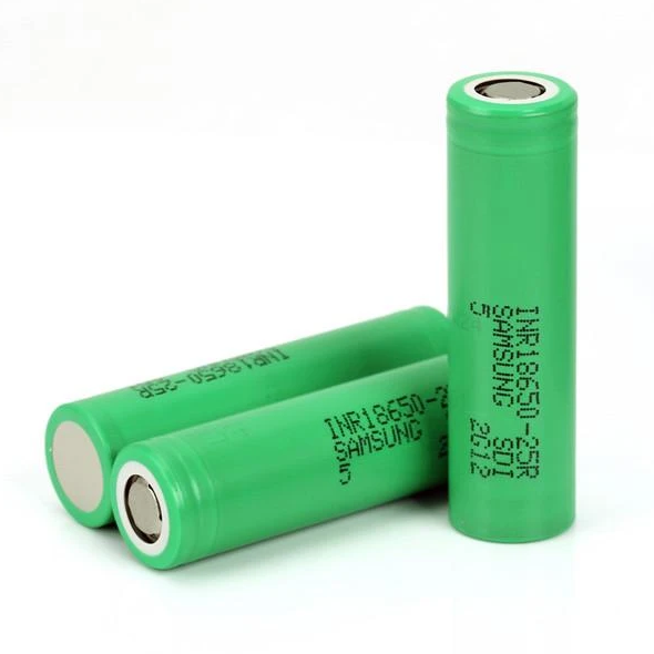 Samsung INR18650-25R 18650 2500mAh 3.6v Rechargeable Flat Top Batteries 2pcs