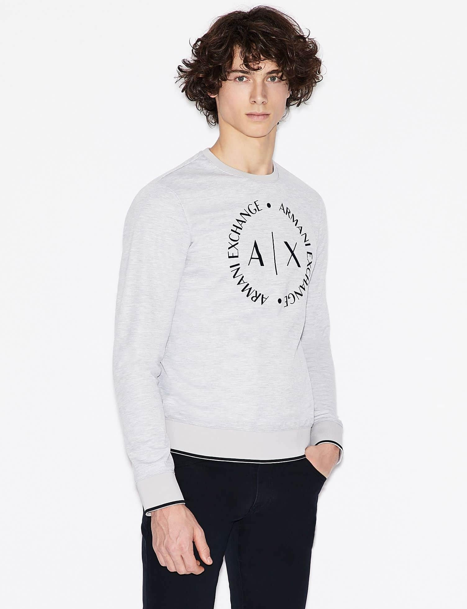 Armani Exchange - Sweater - Grey Melange - Stijl Alkmaar