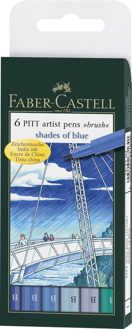 Faber-Castell PITT Artist Brush Pens- Shades of Blue Wallet set of 6