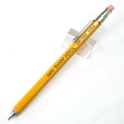 The Ohto pencil has a wooden body, is yellow just like your number 2 pencil, and comes with a replaceable eraser on top (sold separately.)