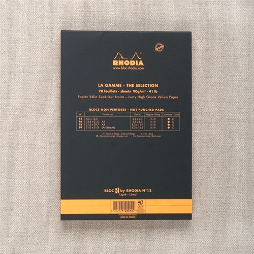 Rhodia R Lined Pad Black, 3.3 x 4.7 inches