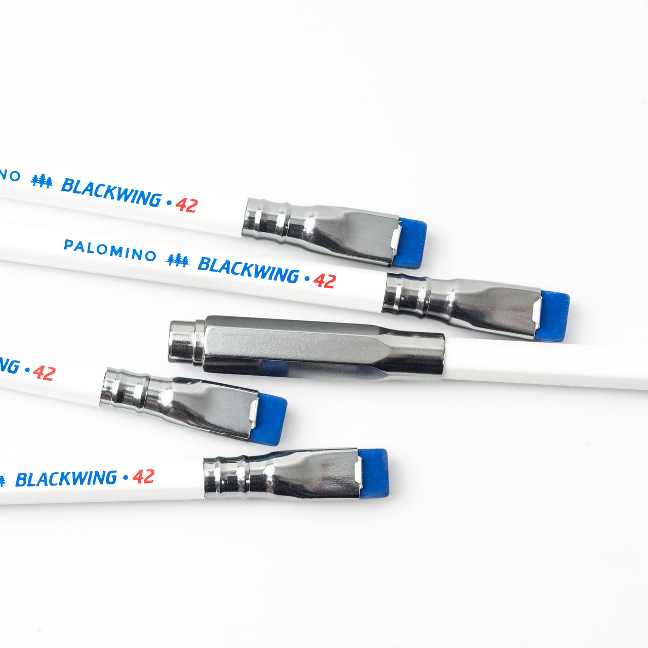 The Blackwing 42 features our balanced graphite, white barrel, blue imprint and eraser, road gray ferrule,  and iconic red 42.