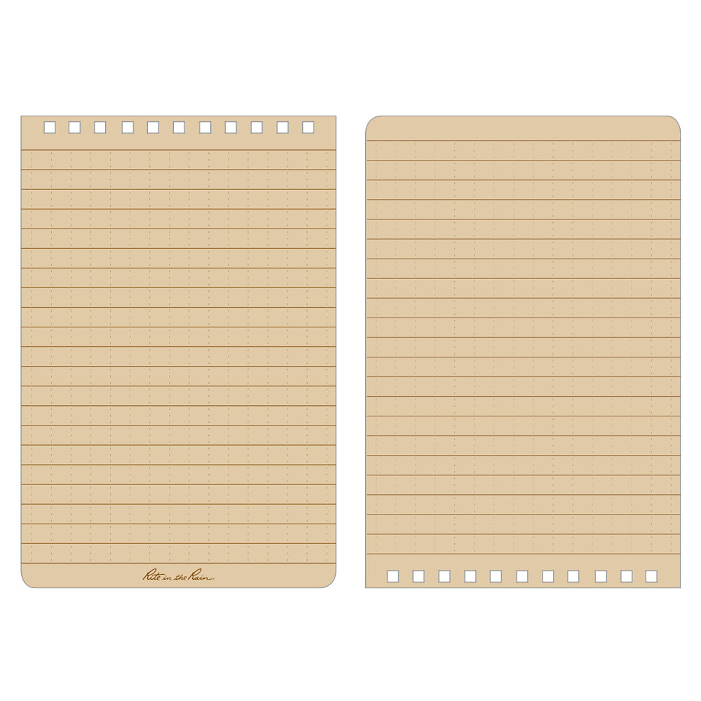 "This top-spiral notebook has 50 sheets (100 pages) printed with the ""universal pattern"", blue ink on white paper- 1/4 inch rules with a faint 1/4 inch grid."
