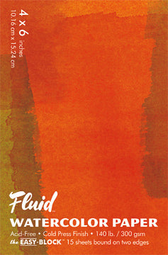 Fluid Watercolor Paper- Cold Press Pad comes in a variety of sizes.