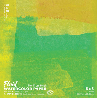 Fluid Watercolor Hot Press Finish pads are available in 5 sizes. Paper is acid free and has a smooth finish.