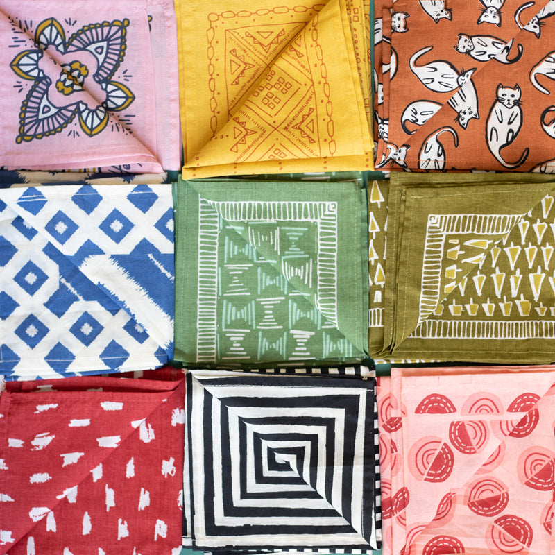 All Hemlock bandanas are printed from hand-drawn original patterns. They are hand screen printed on 100% premium cotton.