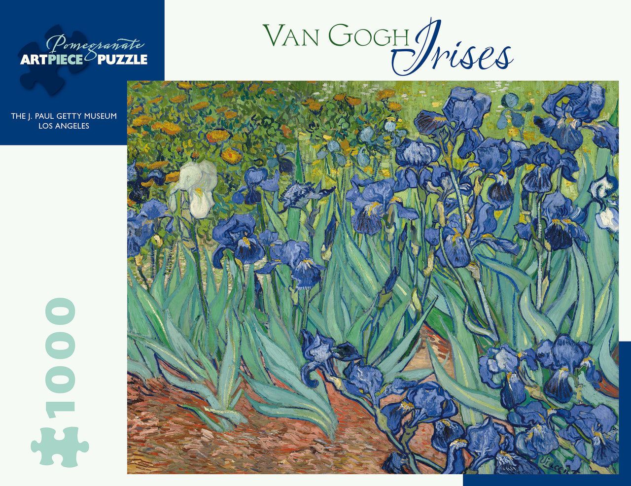 This challenging 1000 piece puzzle is an intricate and visually pleasing reproduction of Vincent Van Gogh's 1889 painting Irises.
